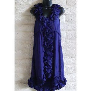 Anthropologie Dresses - Yoana Baraschi | silk ruffle blue dress wedding